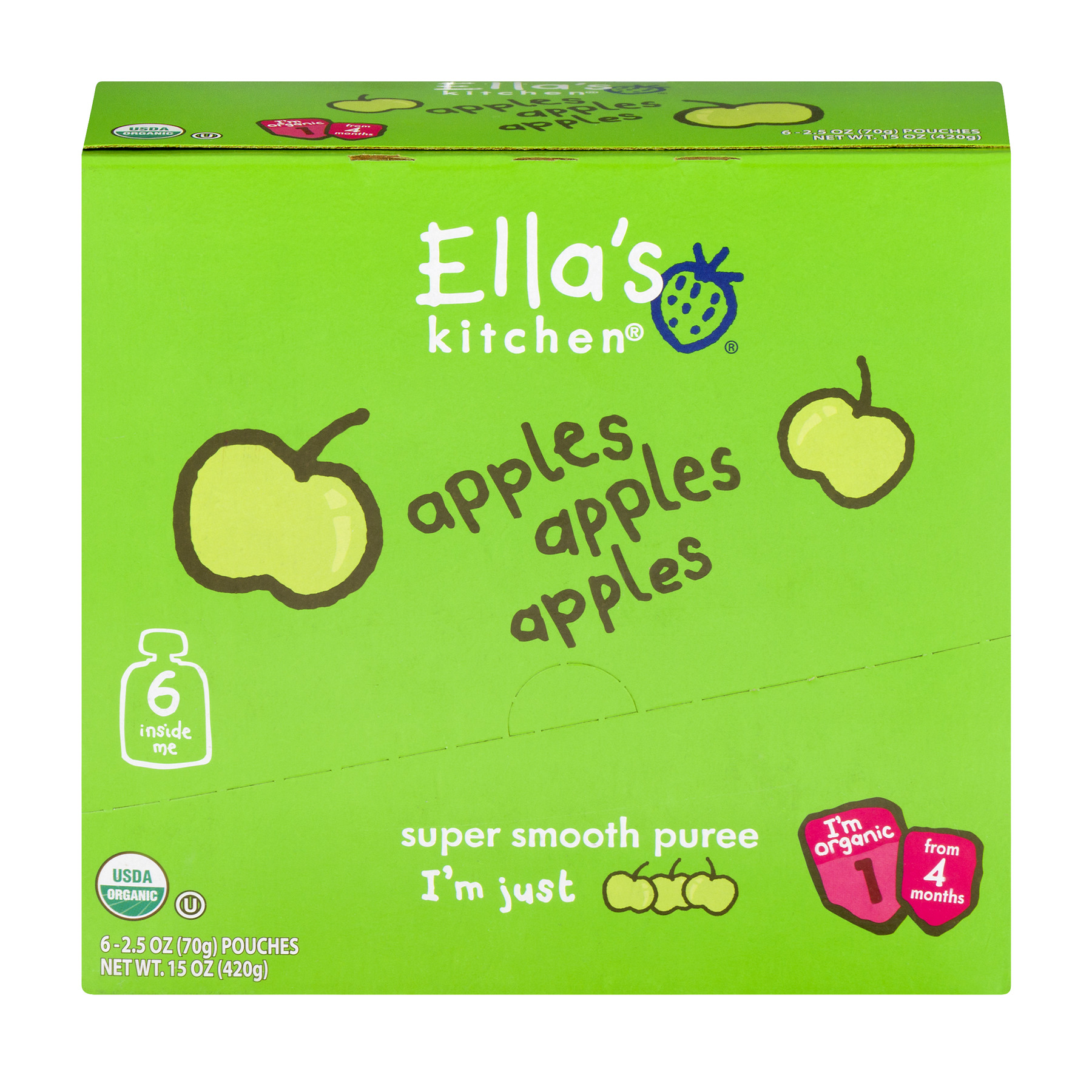 Ella's Kitchen 4+ Months Organic Baby Food, Apples Apples Apples, 2.5 oz. (Pack of 6)