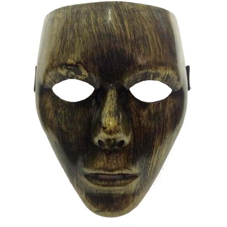 Adult's Gold Facemask Man Halloween Costume Face Mask Accessory (Halloween Zipper Face Uk)
