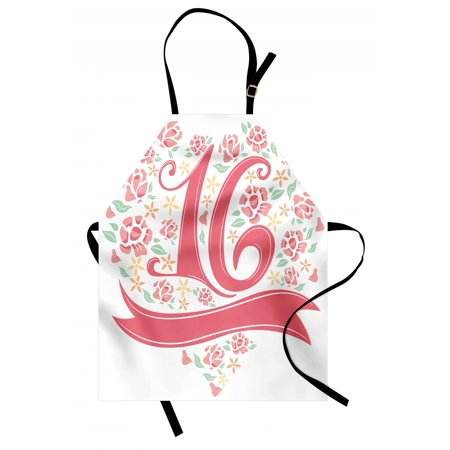 16th Birthday Apron Floral Sweet Sixteen Typohraphy with Spring Floral Rose Petal Image, Unisex Kitchen Bib Apron with Adjustable Neck for Cooking Baking Gardening, Dark Coral Mint, by Ambesonne](Spring Themed Sweet 16)