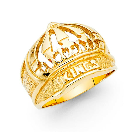 GemApex - Kings Crown Ring Solid 14k Yellow Gold Hip Hop Style Band  Polished Genuine Heavy Men 15MM d166a4e0b