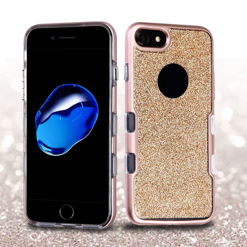 iPhone 8 Case, iPhone 7 Case, by Insten Metallic Full Glitter TUFF Panoview Hybrid Hard/TPU Case Cover For Apple iPhone 8 / iPhone 7 - Rose Gold/Clear Gold