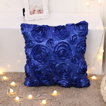 Satin Throw Pillow - Wendana 3D Solid Color Satin Rose Flower Square Pillow Case,Decorative Home Throw Pillow Cover For Bed Sofa,Arts Decoration Rose Flowers Throw Pillow Livingroom Cushion Pillow Case(Blue)