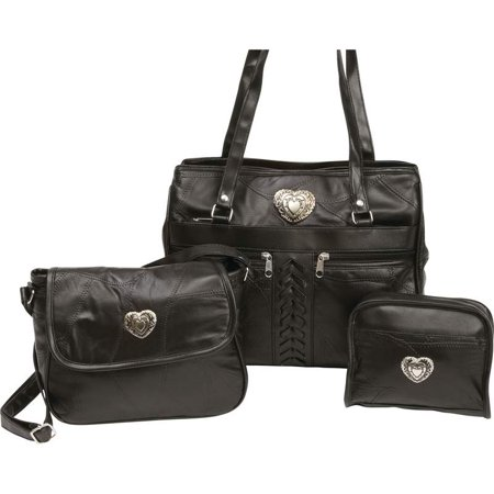 BNFUSA LUPUSET3 Embassy Genuine Leather Purse Set With Heart Medallions