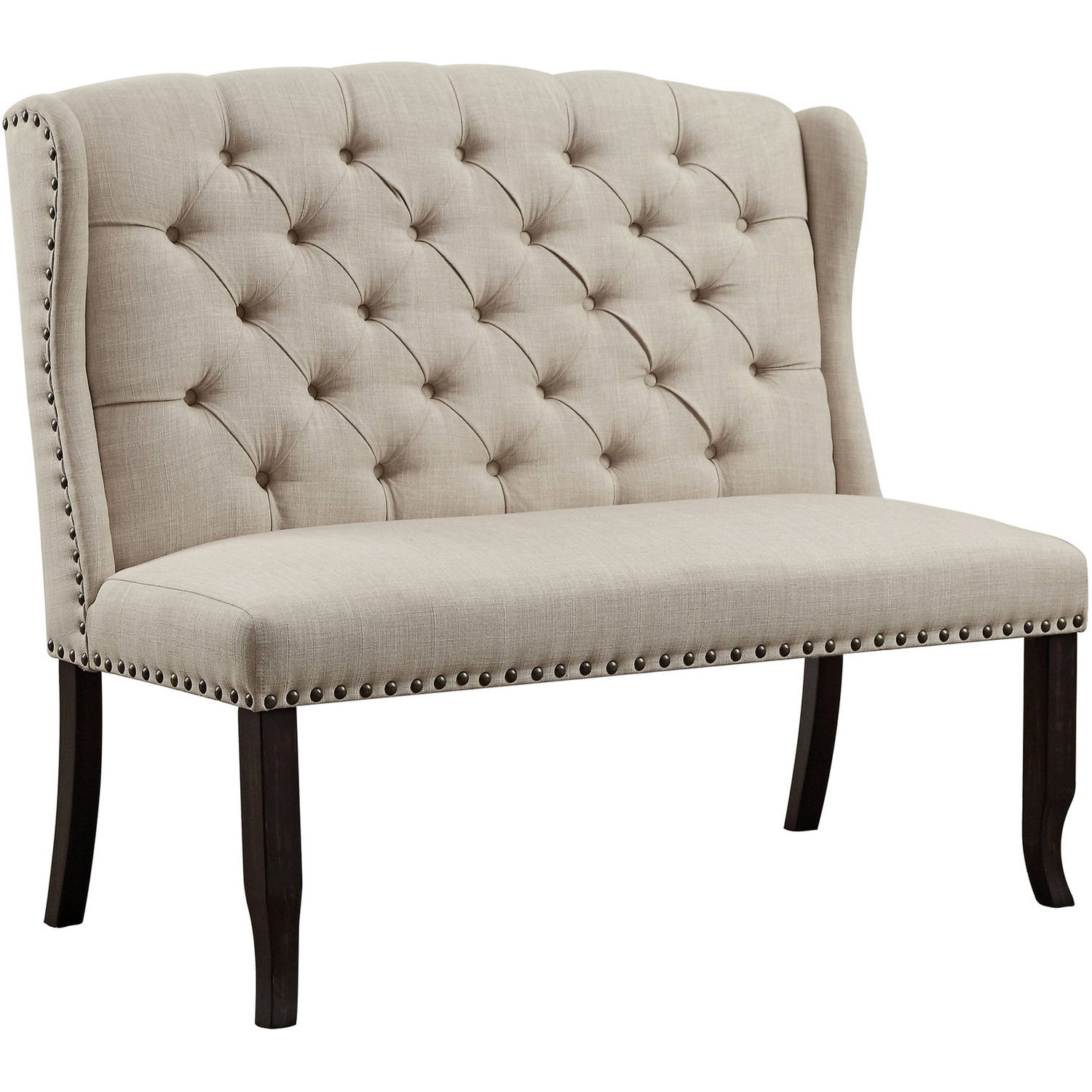 Furniture of America Isabella Tufted Wingback Dining Bench, Antique Black