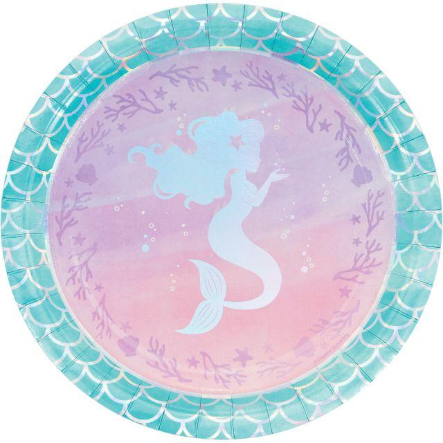 Creative Converting Iridescent Mermaid Party Paper Plates, 8 ct