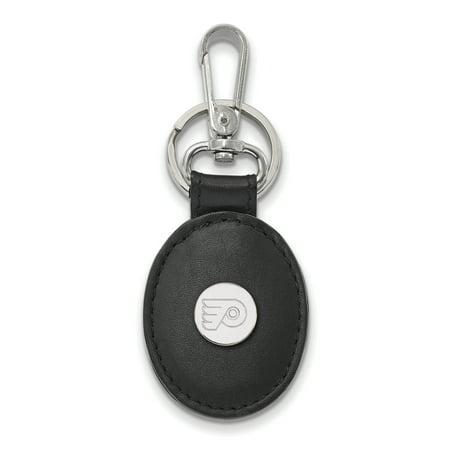 Lex & Lu LogoArt Sterling Silver NHL Philadelphia Flyers Black Leather Oval Key (Nhl Philadelphia Flyers Leather)