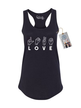 56a2670e59 Product Image Love Sign Language Symbols Womens Racerback Tank Top