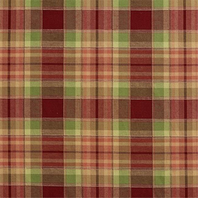 Designer Fabrics U0020A 54 in. Wide Burgundy And Green Country Plaid Upholstery Fabric