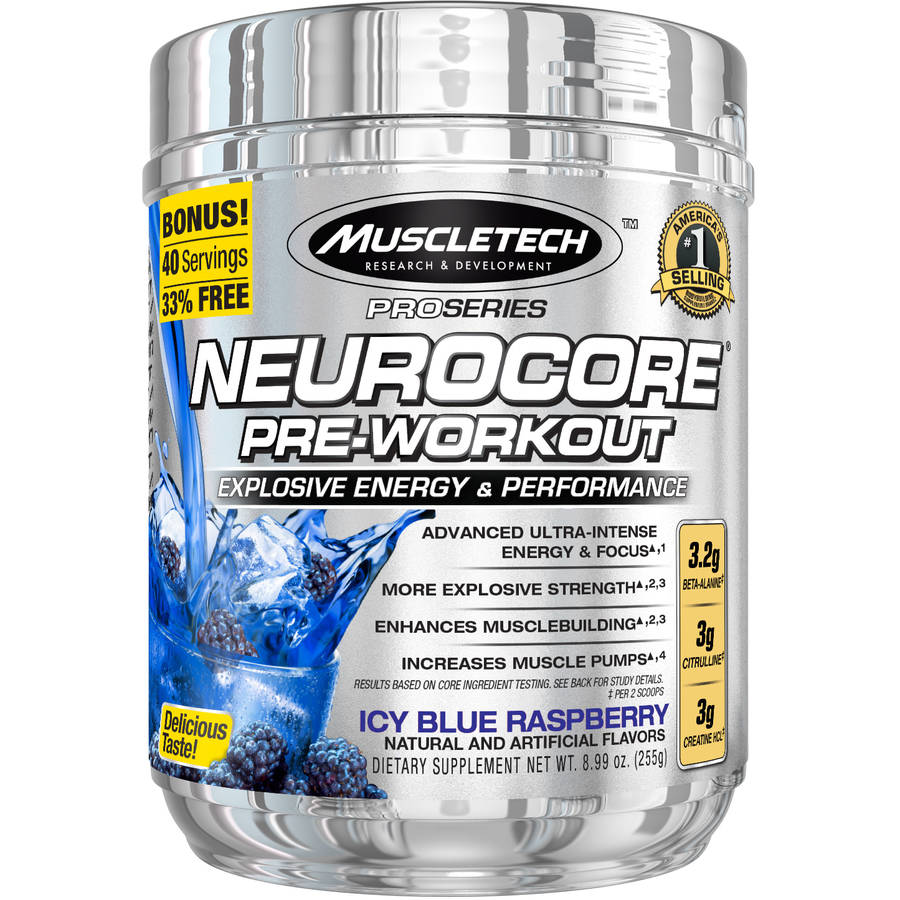 MuscleTech Pro Series Neurocore Pre-Workout Icy Blue Raspberry Dietary Supplement, 8.99 oz