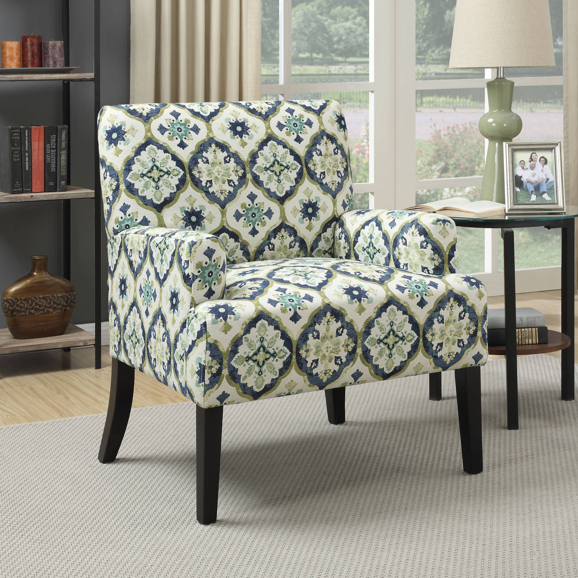 Coaster Kaleidoscope Pattern Accent Chair With Blue And Green Design