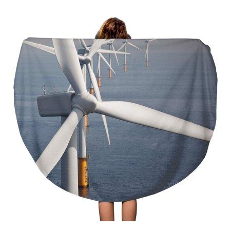 LADDKA 60 inch Round Beach Towel Blanket Green Utility Offshore Wind Turbine Farm Windmill Power Sea Travel Circle Circular Towels Mat Tapestry Beach Throw