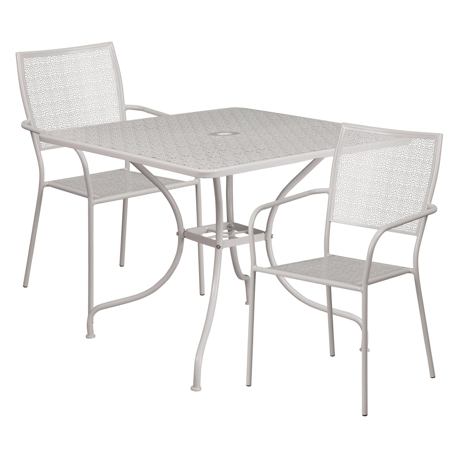 Flash Furniture 35.5'' Square Indoor-Outdoor Steel Patio Table Set with 2 Square Back Chairs Multiple Colors