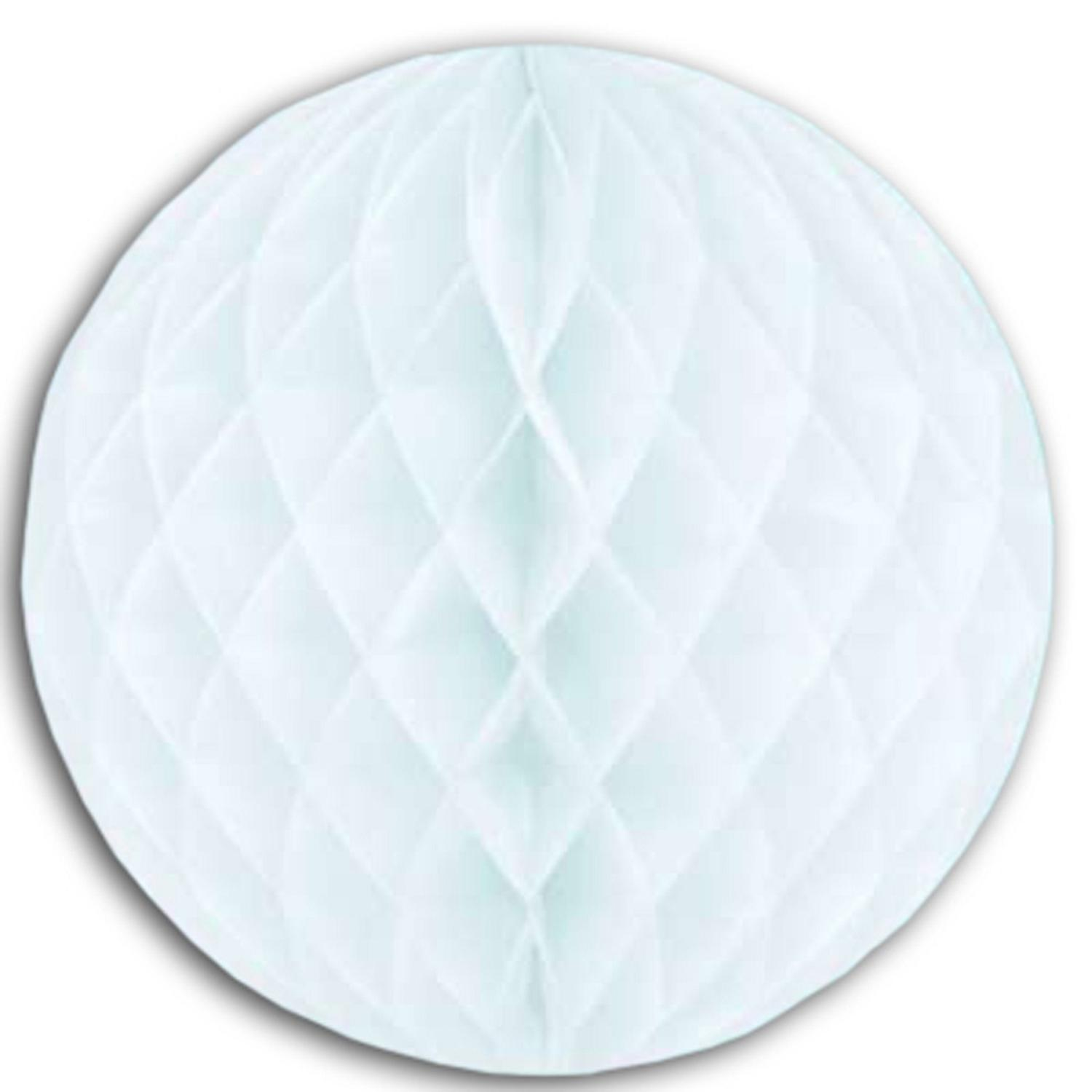 """Club Pack of 12 White Honeycomb Hanging Tissue Ball Party Decorations 12"""""""