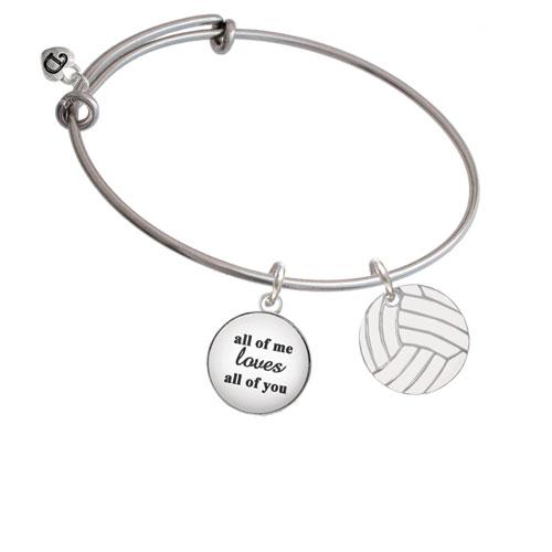3/4'' Enamel Volleyball All Of Me Loves Bangle Bracelet