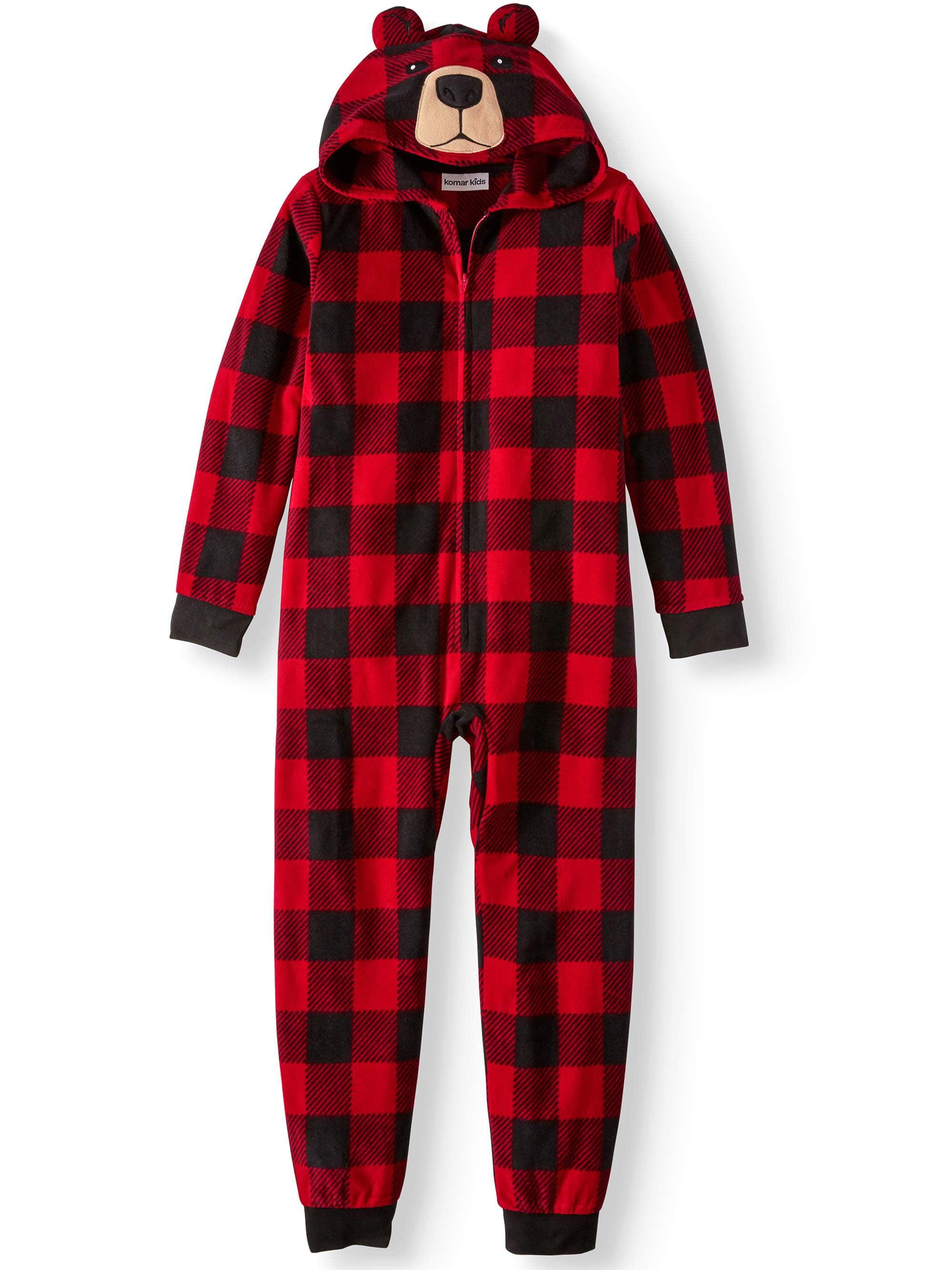 Komar Kids Boy's Buffalo Plaid Bear Hooded Pajama Sleeper (Little Boys & Big Boys)