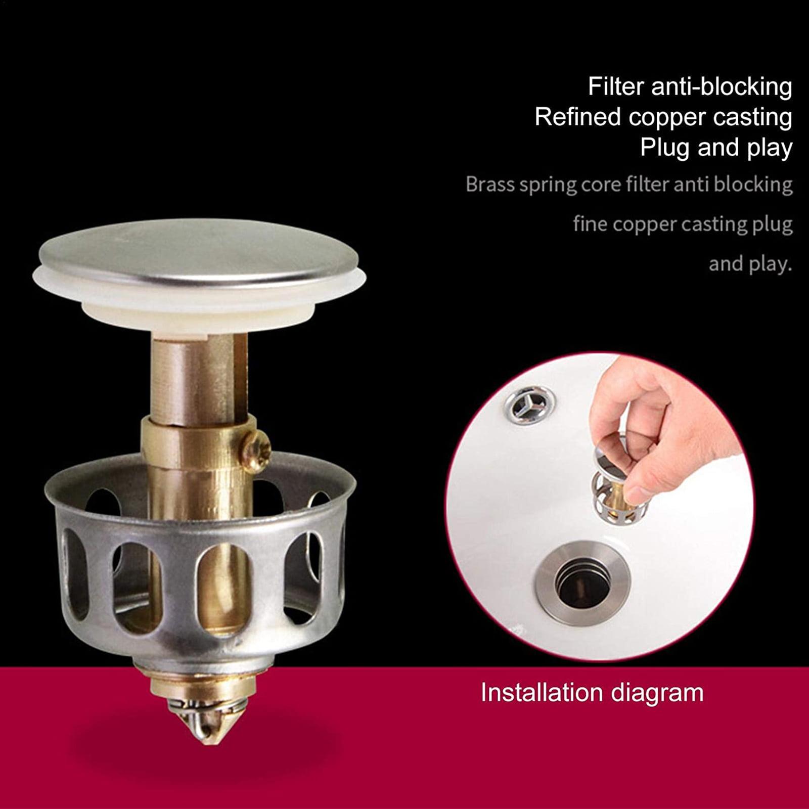 2Pcs Wash Basin Bounce Drain Filter Pop Up For Bathroom Sink Drain Plugs 35mm US
