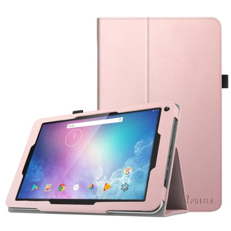 Fintie Folio Case for Dragon Touch V10 Tablet, Slim Fit PU Leather Stand Cover with Stylus Holder, Rose Gold (Dragon Touch Tablet Cover)