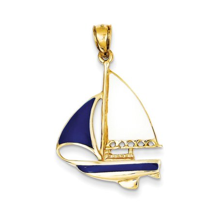 14K Yellow Gold Blue and White Enamel Sailboat Charm Pendant - 33mm