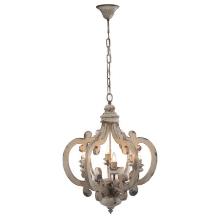 "24"" Ceiling 6 Light Chandelier Distressed White - A&B Home"