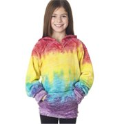 Weatherproof W1162Y Youth Girls Courtney Burnout V-Notch Sweatshirt - Rainbow, Small