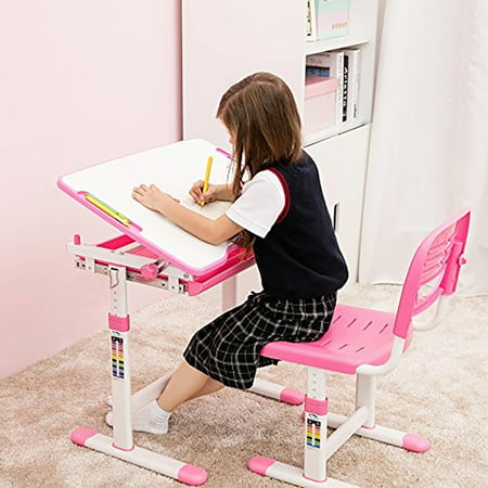 Children Desk Kids Study Child School Adjustable Height Student Table Chair Set with Storage Perfect Gift For