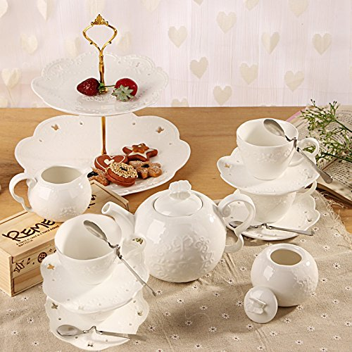 Kendal Porcelain Tea Cup And Saucer Coffee Set With Spoon Sugar Creamer Tc Hyhd W