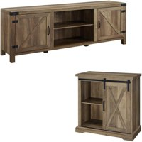 2 Piece Barn Door TV Stand Console and Buffet Side Table Set in Rustic Oak