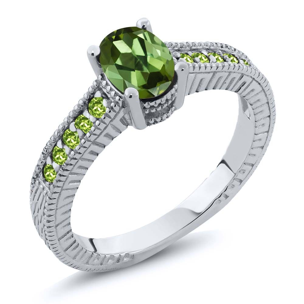 1.35 Ct Oval Green Tourmaline Simulated Peridot 18K White Gold Engagement Ring by