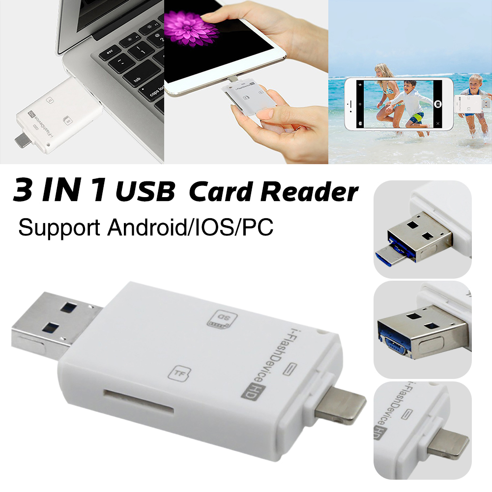 SD Lightning Adapter 3 in 1 Mini Lightning/Android Micro USB/USB 2.0 SD/SD/TF Memory Card Adapter For iPhone 5/5s/6/6s/6s plus Computer PC & OTG Android