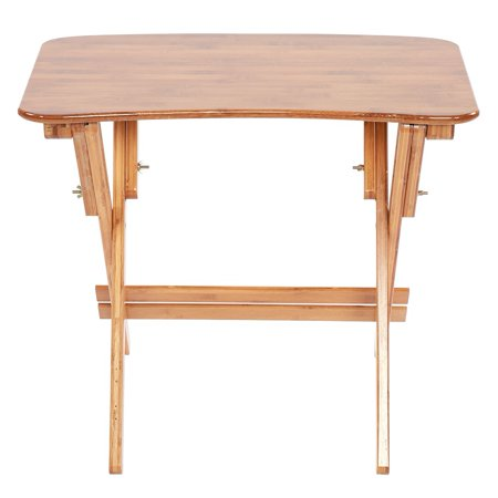HERCHR Bamboo Adjustable Height Table Folding Study Desk Curved Edge Computer Desk Home Bedroom, Adjustable Table, Folding Desk