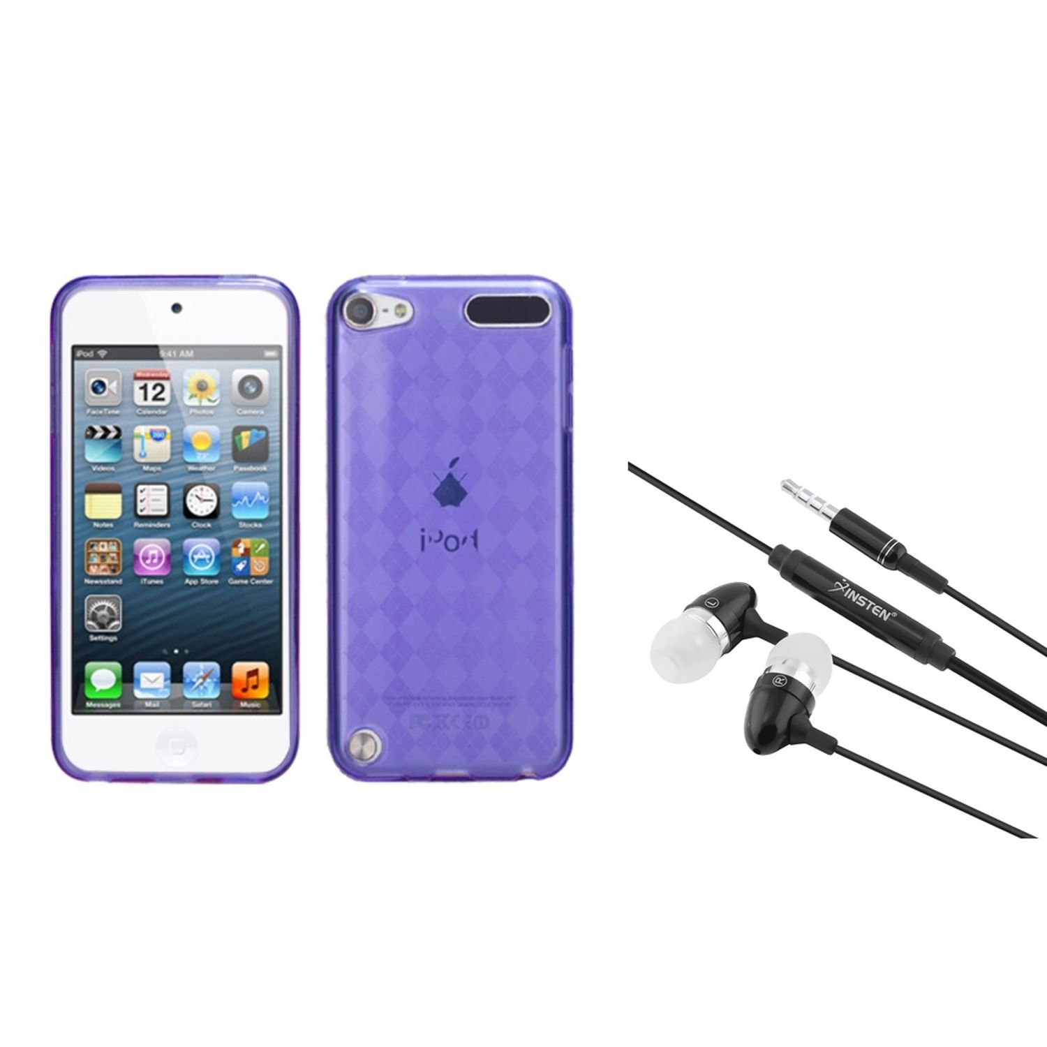 Insten Purple Argyle Pane Candy Skin Cover Case For iPod Touch 6 6G / 5 5G + 3.5mm Headset