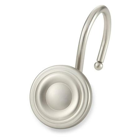 Circle Shower Shower Curtain Hooks Dark Silver Set of 12 - Elegant Home Fashions