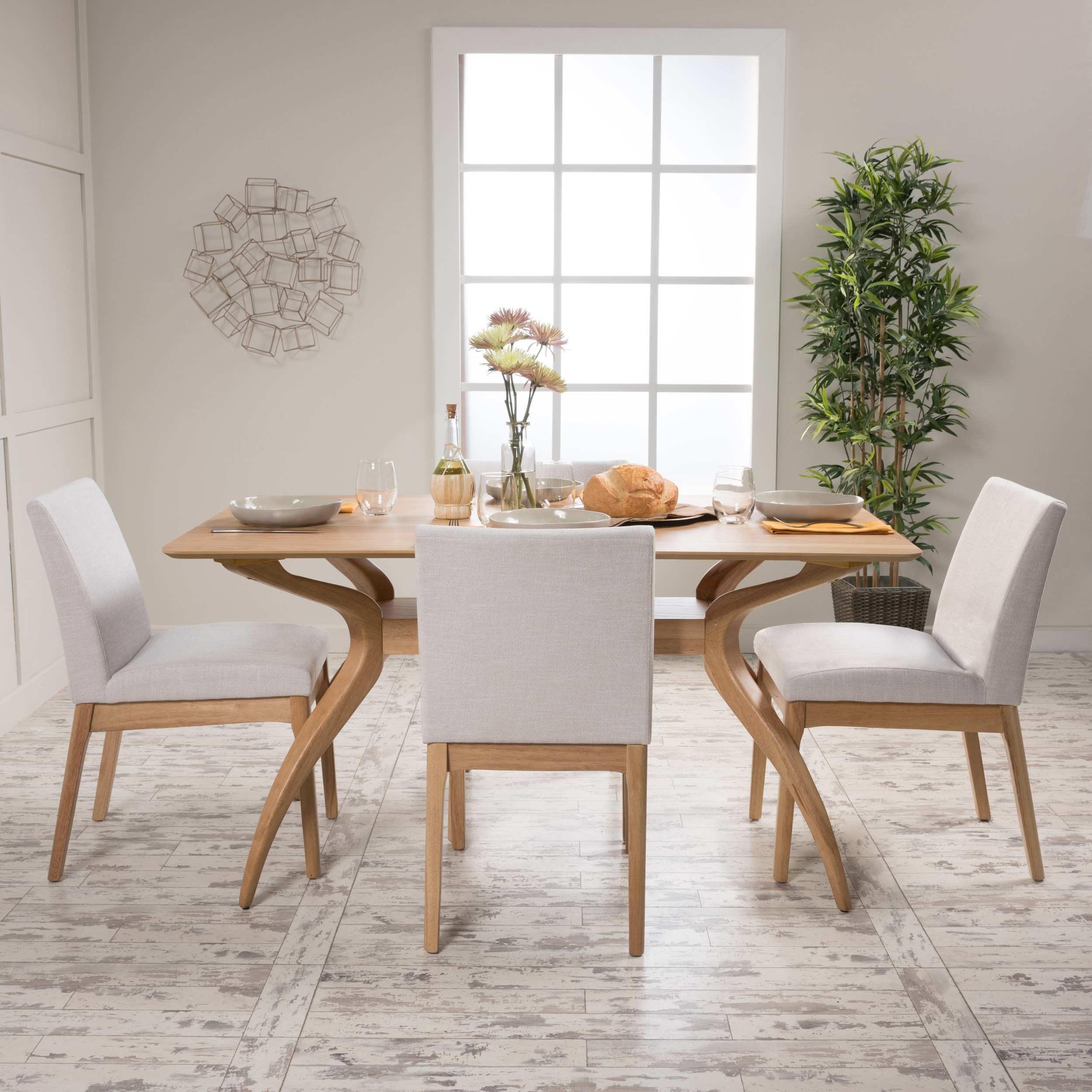 Noble House Caruso Natural Oak Wood Light Beige 5 Piece Dining Set
