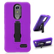 Phone Case for ZTE ZMAX One LTE Z719DL / ZTE Blade Spark 4G AT&T Prepaid Smartphone, ZTE Grand X4 (Cricket Wireless) Case, Double Layer Shockproof Hard Cover Protective Case with Kickstand (Purple)