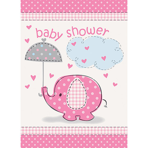 Pink Elephant Baby Shower Invitations, 8ct