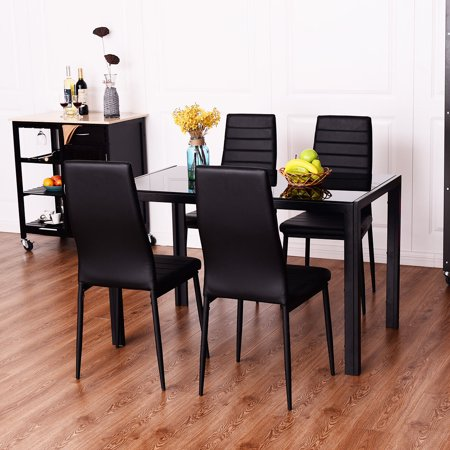 costway 5 piece dining set tempered glass table and 4 chairs kitchen dining room black. Black Bedroom Furniture Sets. Home Design Ideas