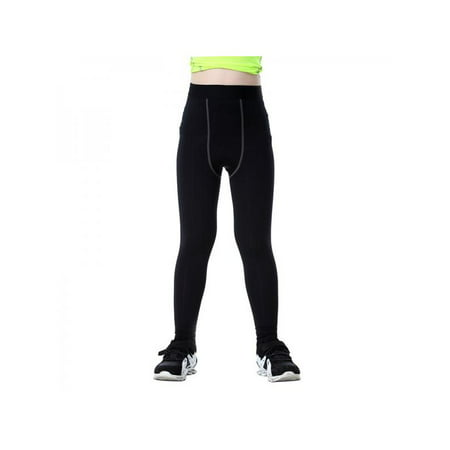 VICOODA Kids Boys Youth Compression Yoga Athletic Pants Running Football Tights Baselayer Workout Quick-Drying Fitness Long Shorts