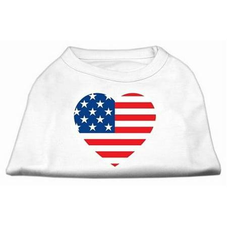Mirage Pet Products 51-133 LGWT American Flag Heart Screen Print Shirt White Lg - (American Flag Attire)