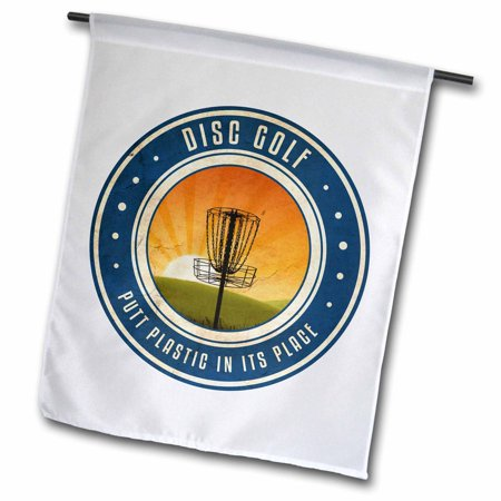 3dRose Putt Plastic In Its Place #11 - silhouette of frisbee disc golf basket as the sun rises - Garden Flag, 12 by (Parts Of The Philippine Flag And Its Meaning)