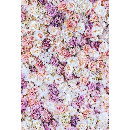 ABPHOTO Polyester Pink Cream Purple Flower Wall Backdrop Wedding Photography Romantic Rose Blossoms Baby Newborn Girls Photo Shoot Backgrounds 5x7ft