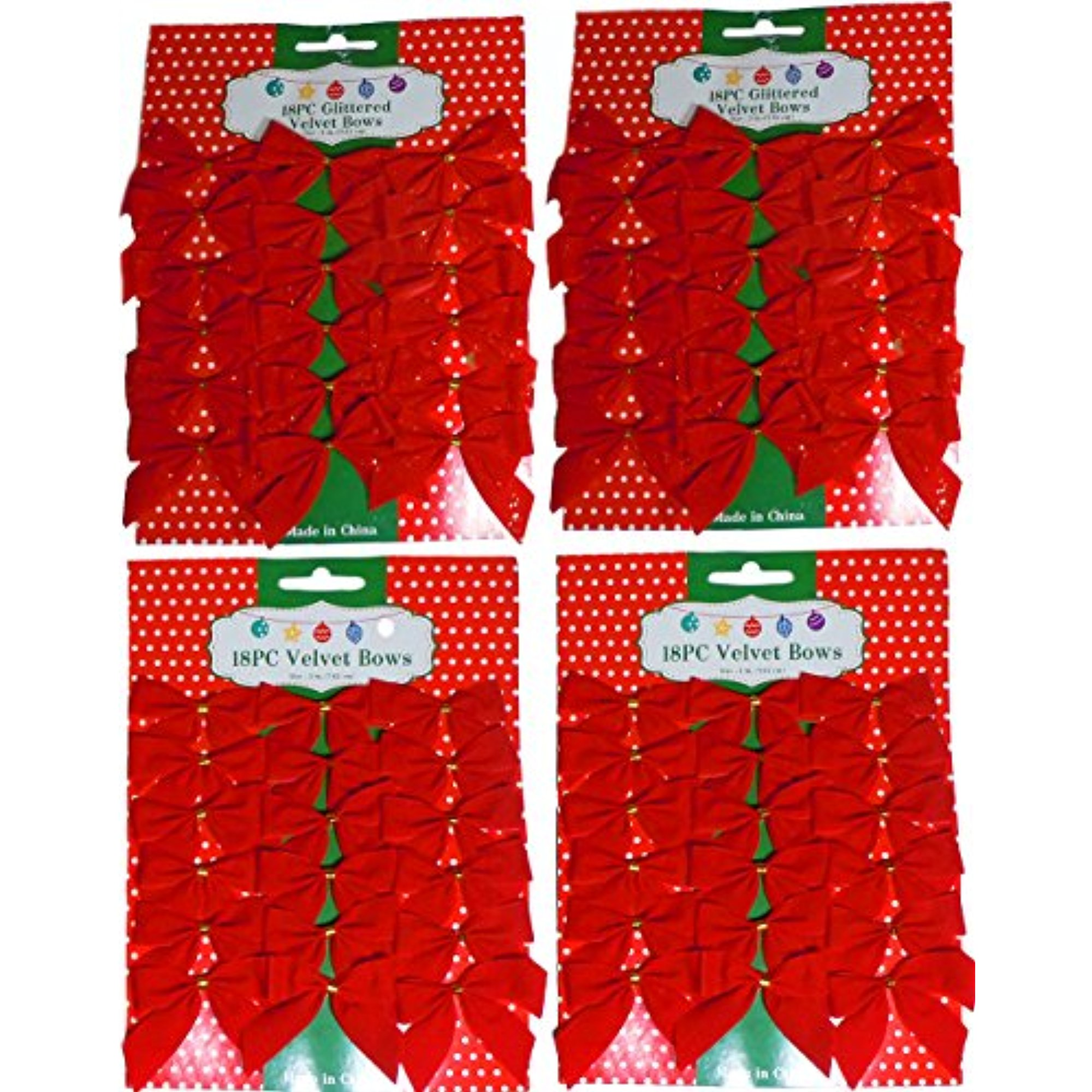 """3"""" Mini Red Velvet 2 Loop Bow W/Gold Foil Tie Back (36 With Glitter & 36 Without)"""