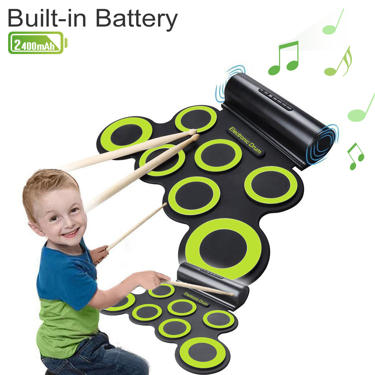 CoastaCloud Roll up Electronic Drum Portable Pad Kit with Speaker Entertainment Kids Gift Children's Day Christmas Present