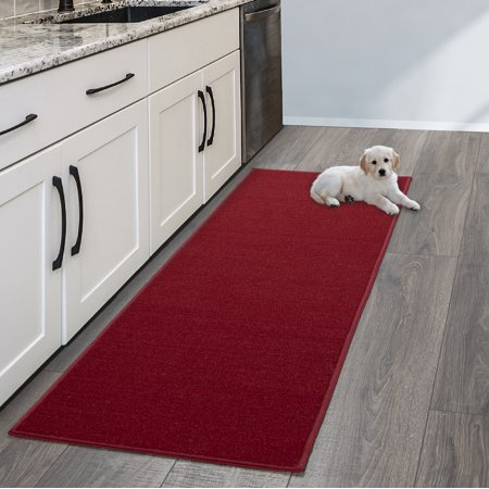 Ottomanson Ottohome Collection Solid Hallway Wedding Aisle & Kitchen Non Slip Rubber Backing Area or Runner Rugs