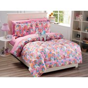 Mk Collection 6 PC Twin Size Little Pony Pink Purple White Blue Orange Comforter And sheet set With
