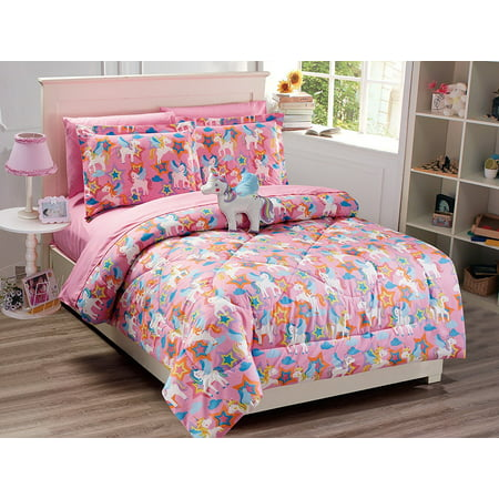 Mk Collection 6 PC Twin Size Unicorn Pink Purple White Blue Orange Comforter And sheet set With Furry Buddy Included New