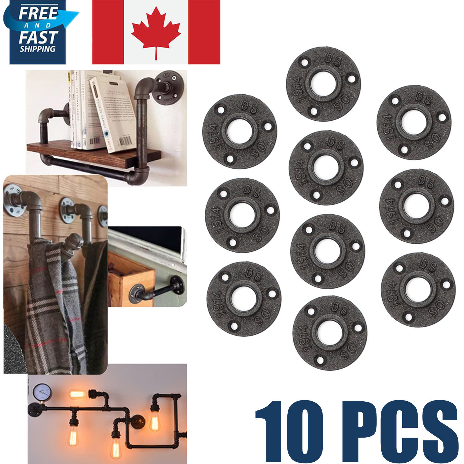 "10pcs Malleable Iron Pipe Fittings 1/"" black Wall Mount Floor Flange Rusty Thread"