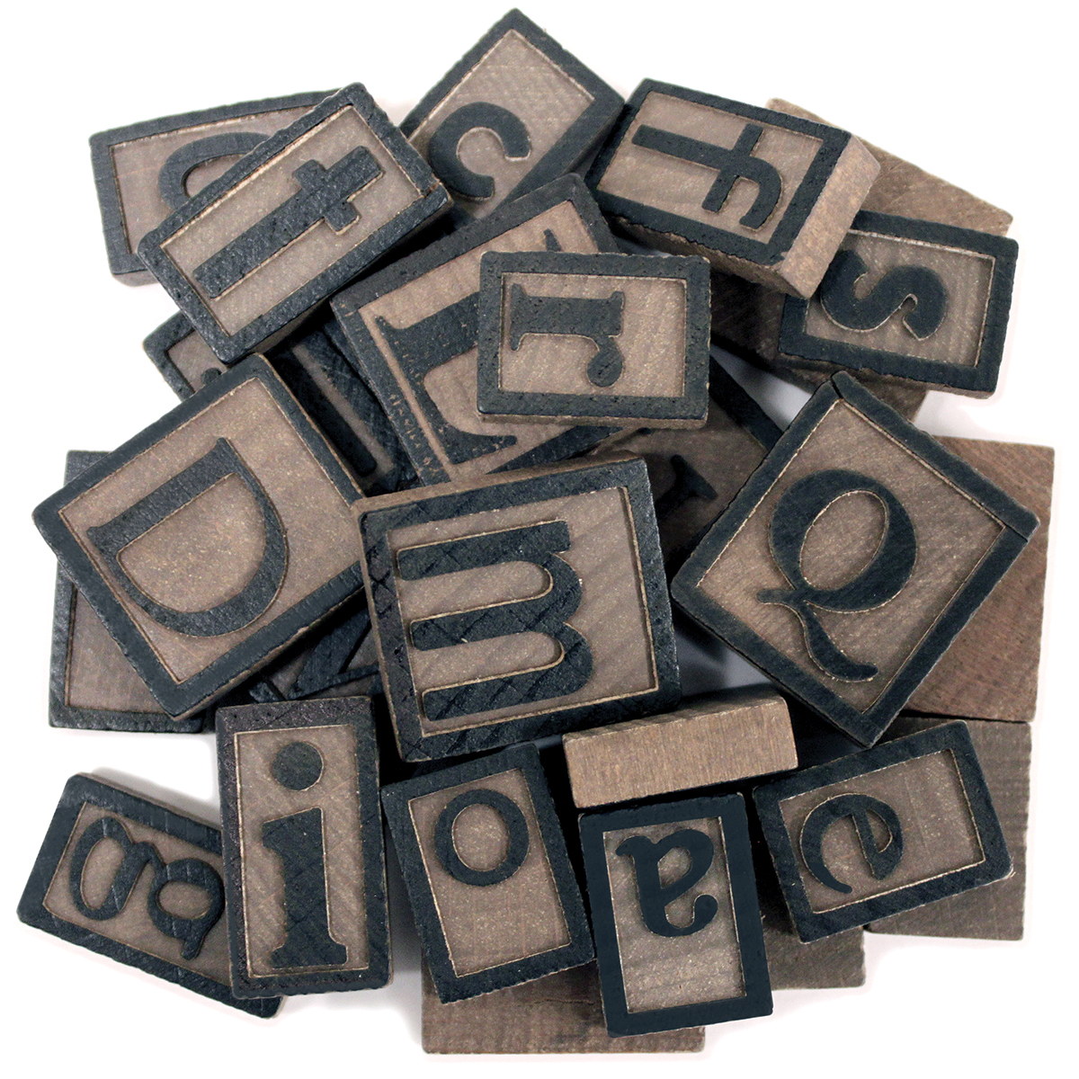 Wood Letterpress Tiles 5mm 26/Pkg-Alphabet