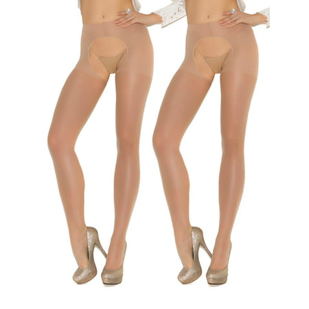 Womens Sexy Sheer Nude Crotchless Pantyhose Hosiery Stockings Beige Tights- 2 pack](Nude Pantyhose)