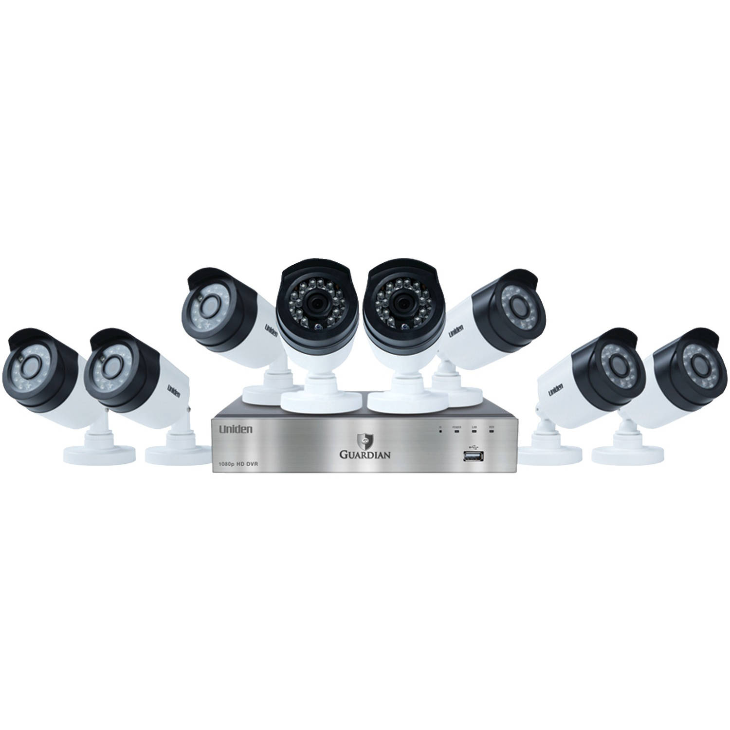 Uniden G6880D2 Guardian 1080p 1TB DVR with Outdoor Bullet Cameras (8-Channel, 8 Cameras) by Uniden