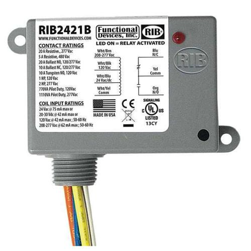 FUNCTIONAL DEVICES INC / RIB RIB2421B Enclosed Power Relay, SPDT, 20A @ 277VAC